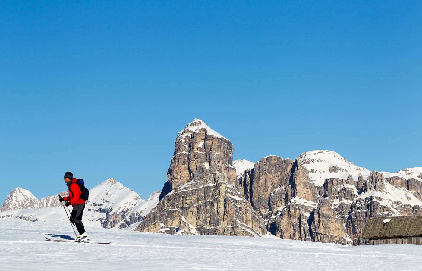 Ski tour with Dolomites at the back