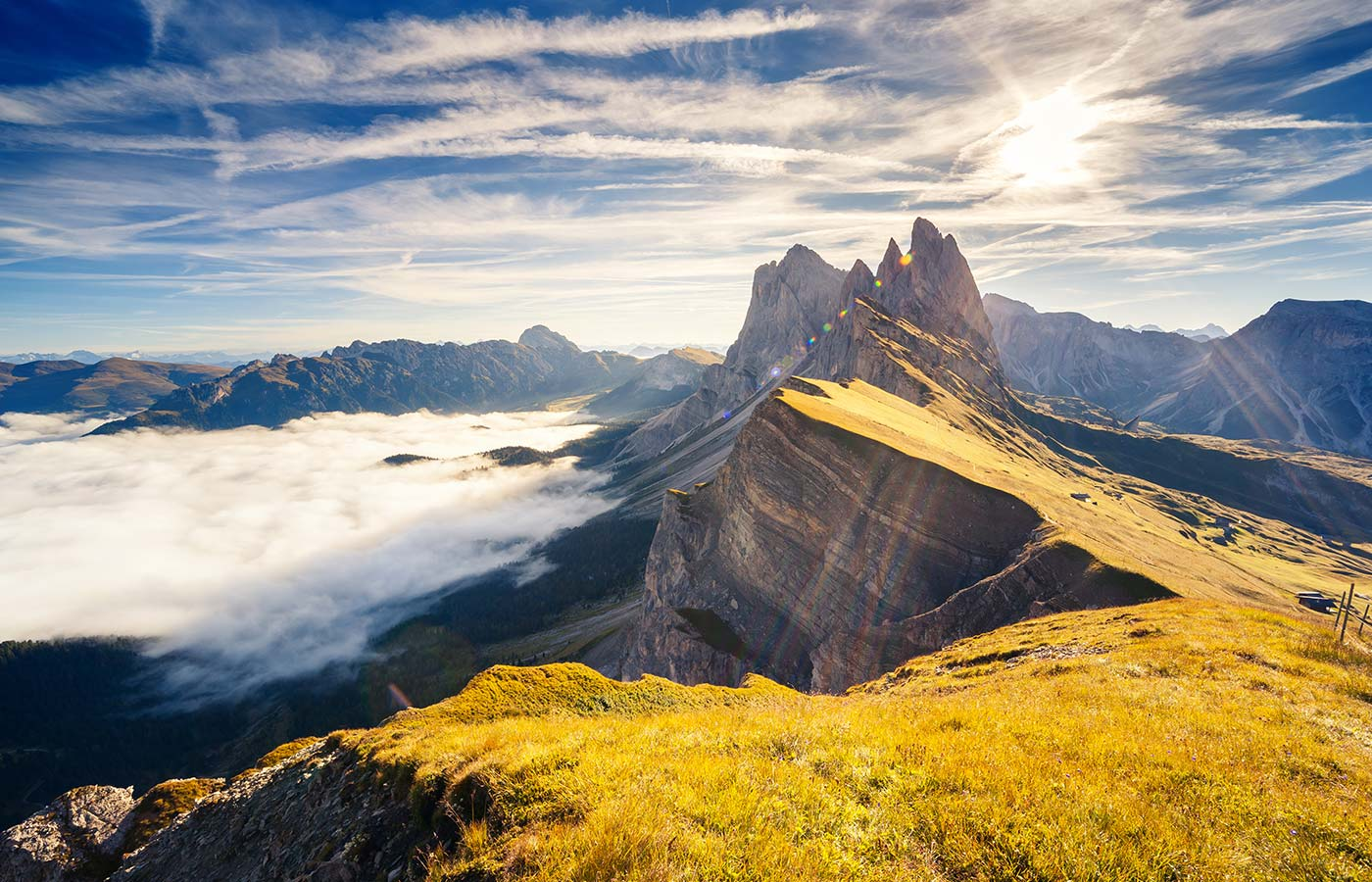 View of Dolomites in the sun with some clouds